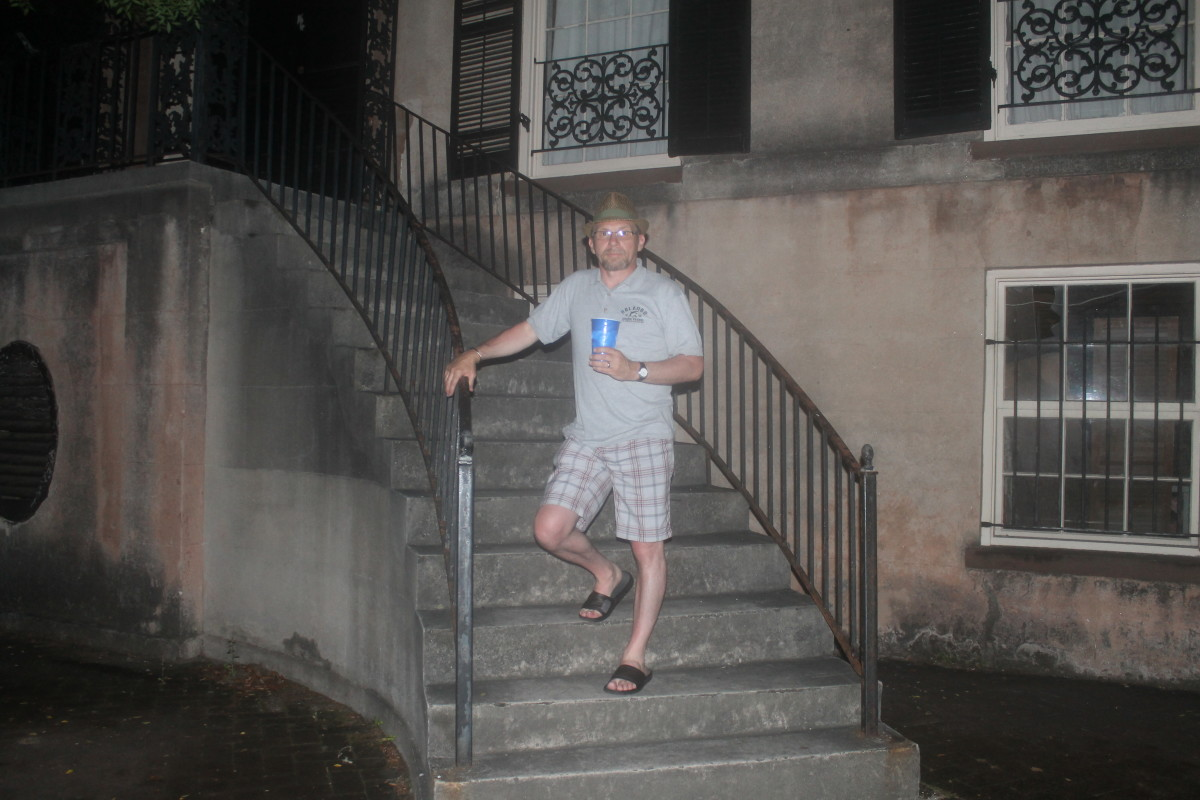 The Author on the Steps of 432 Abercorn Street