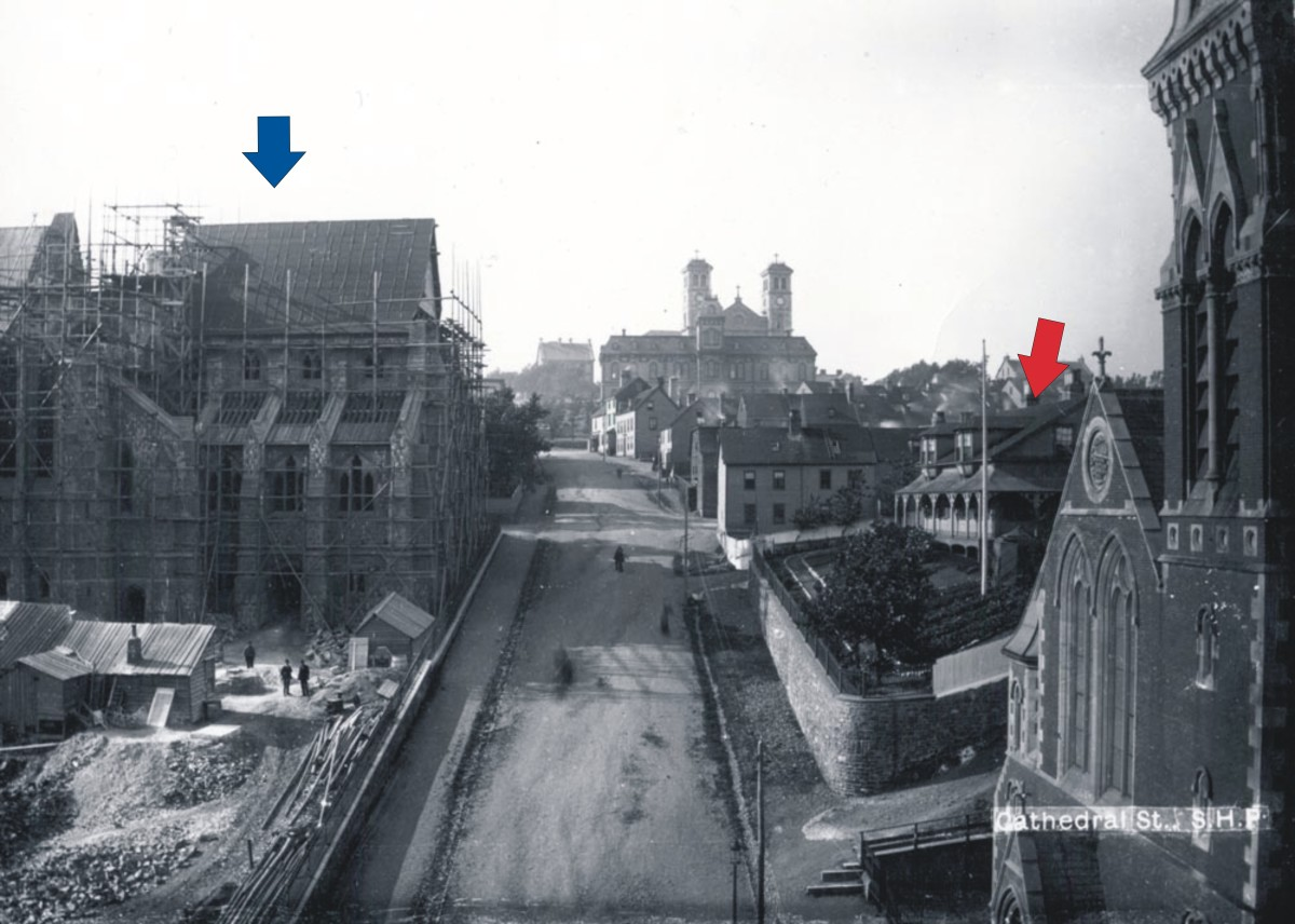 Cathedral Street Prior to the Great Fire. The Masonic Temple was Built on the Foot Print of the Building Indicated by the Red Arrow, After it Was Destroyed by the 1892 Fire. The Anglican Cathedral, Under Construction, is Indicated by the Blue Arrow.