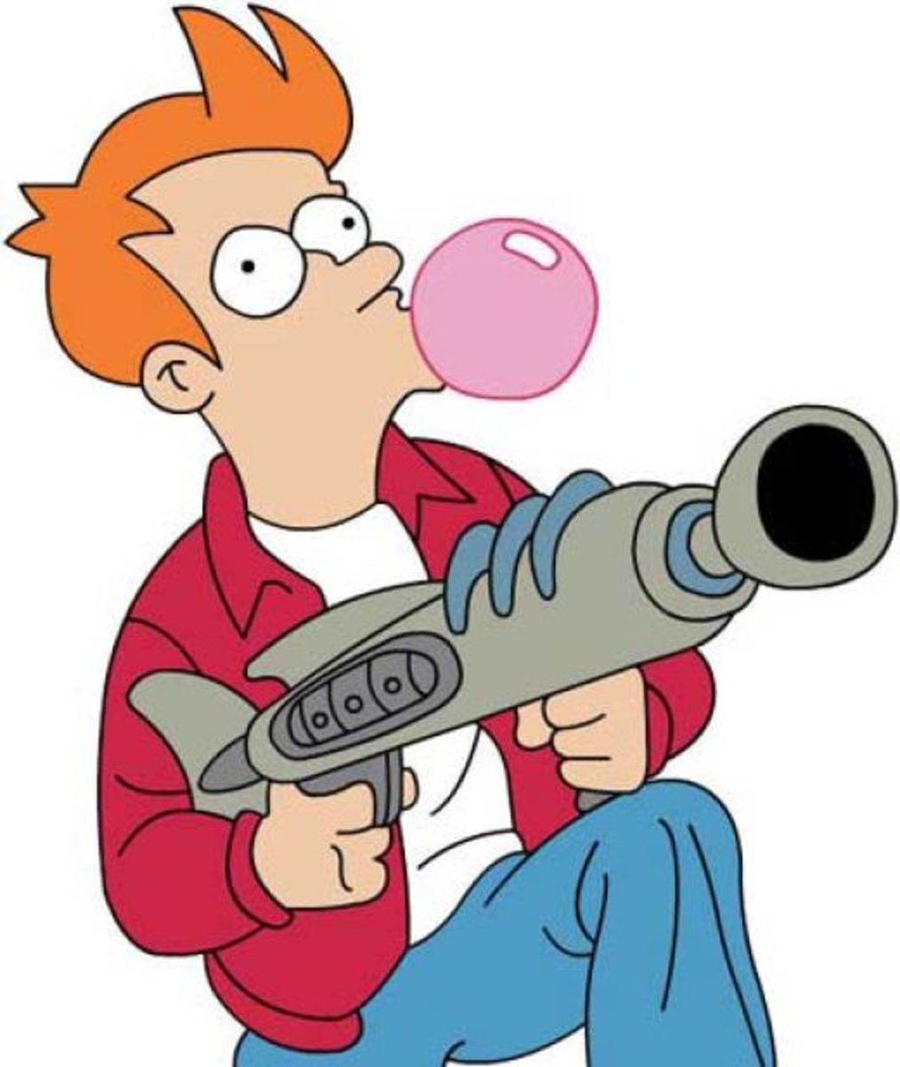 Fry, gum, and gun in tow