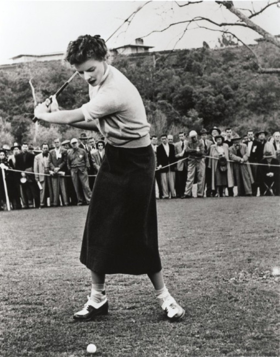 All the Hepburn children were encouraged to be athletic, and Katharine, seen here playing golf, remained sporty her whole life.