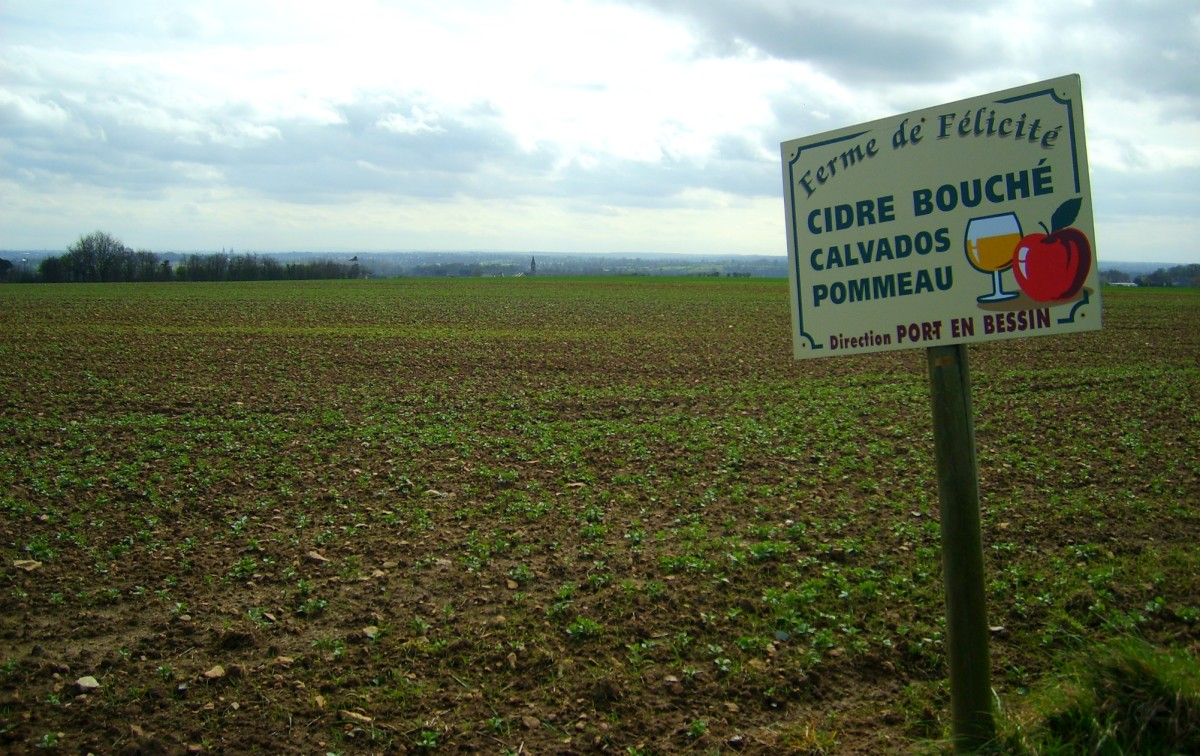 Sign in a field in Normandy, France. The region is also famous for its cider.