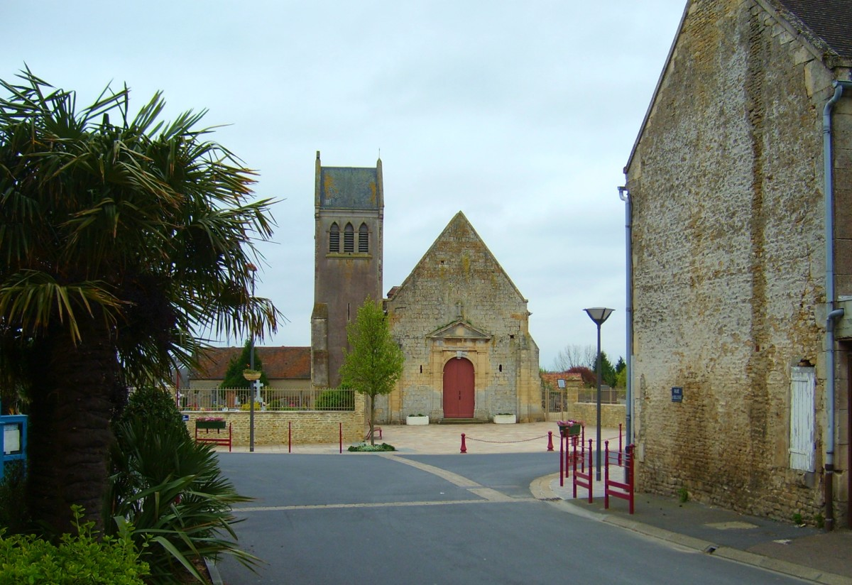 The town square and palm trees in Ouistreham, France