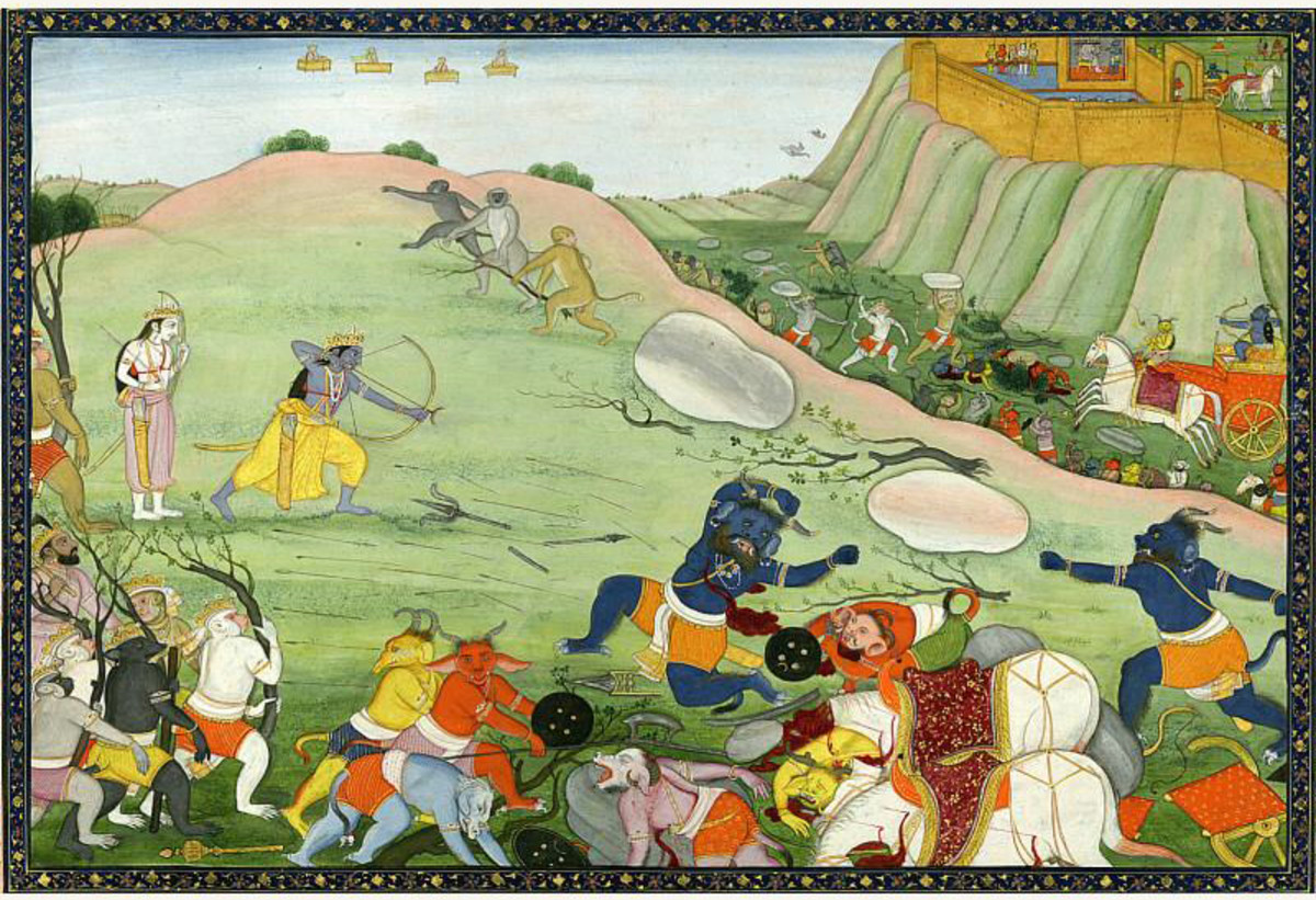 Battle scene from Hindu mythology.
