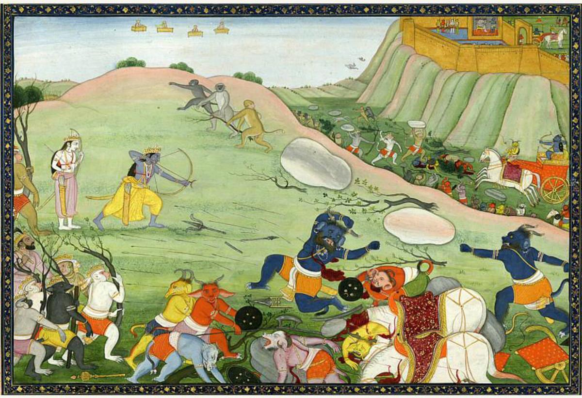 Battle scene from Hindu mythology.