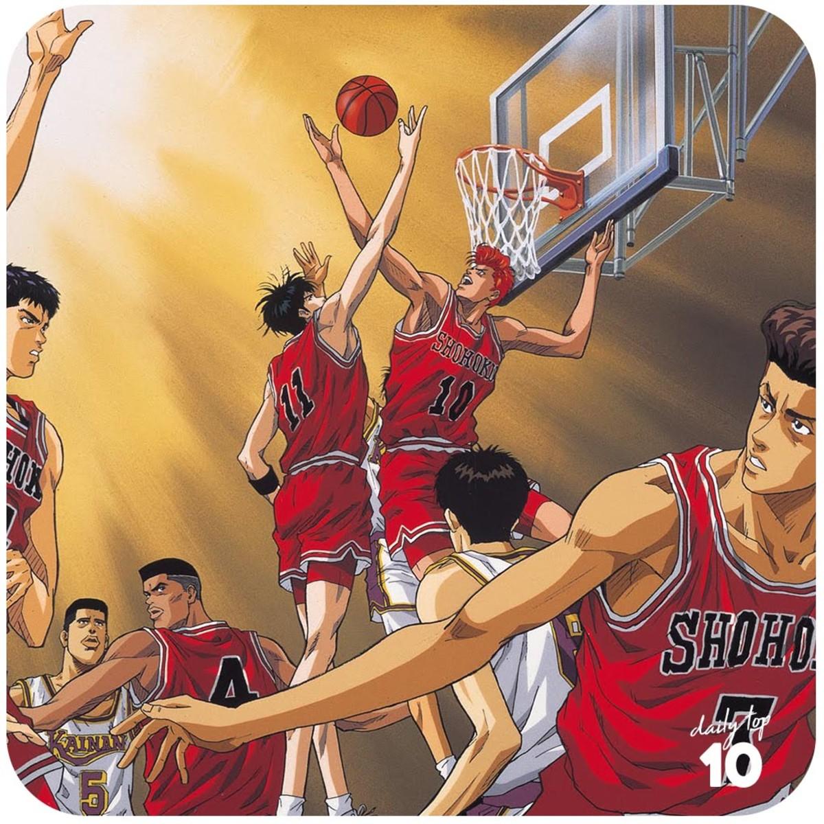 Rukawa and Sakuragi fighting for a rebound