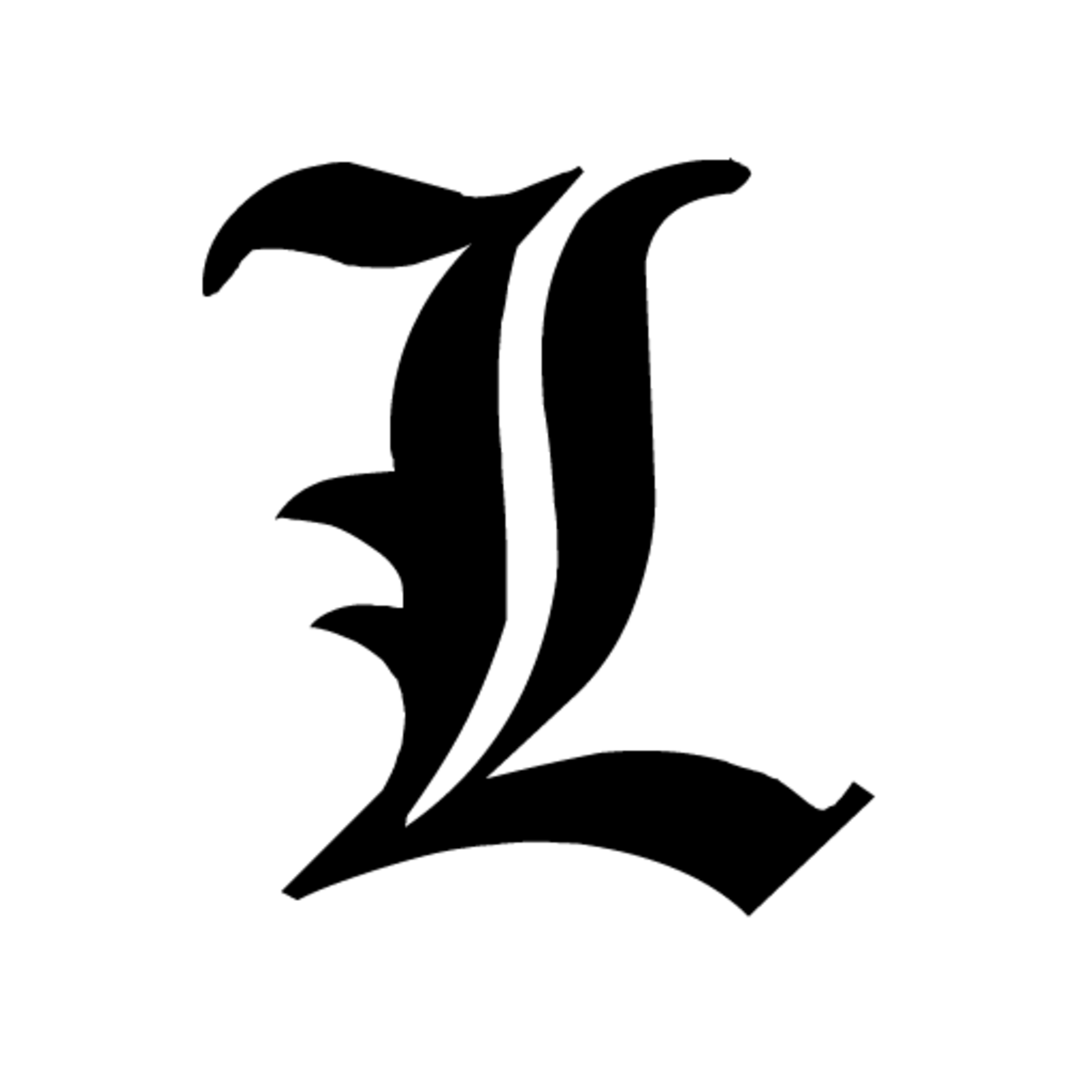 Lawliet goes undercover by the letter L, shown on screen during messages in Old English font.