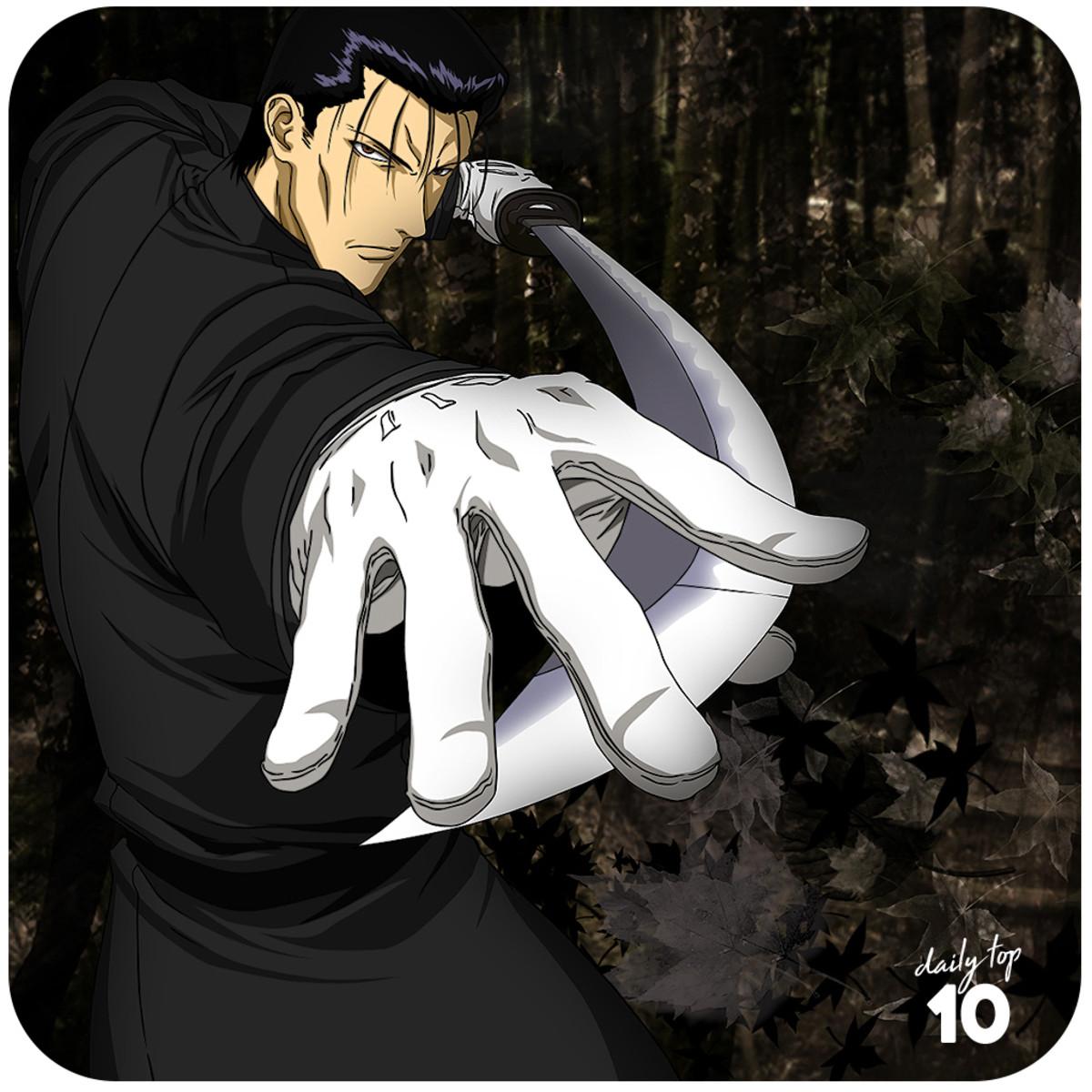 Saito Hajime pointing his sword