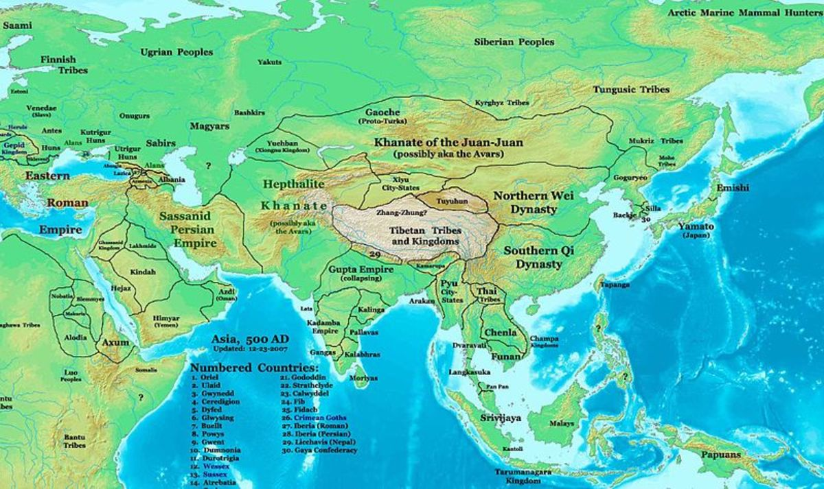 A map of sixth century China.