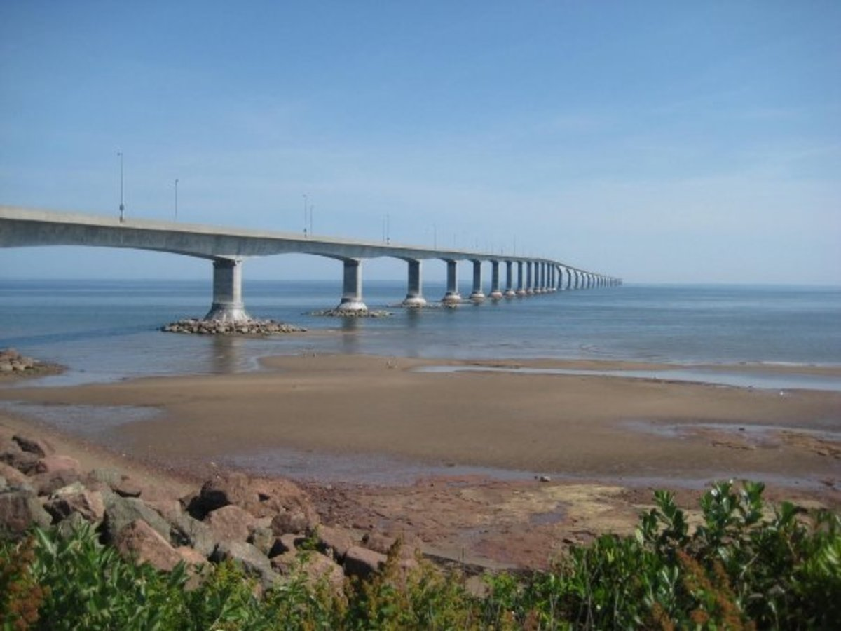 Confederation Bridge connects PEI to New Brunswick, Canada.