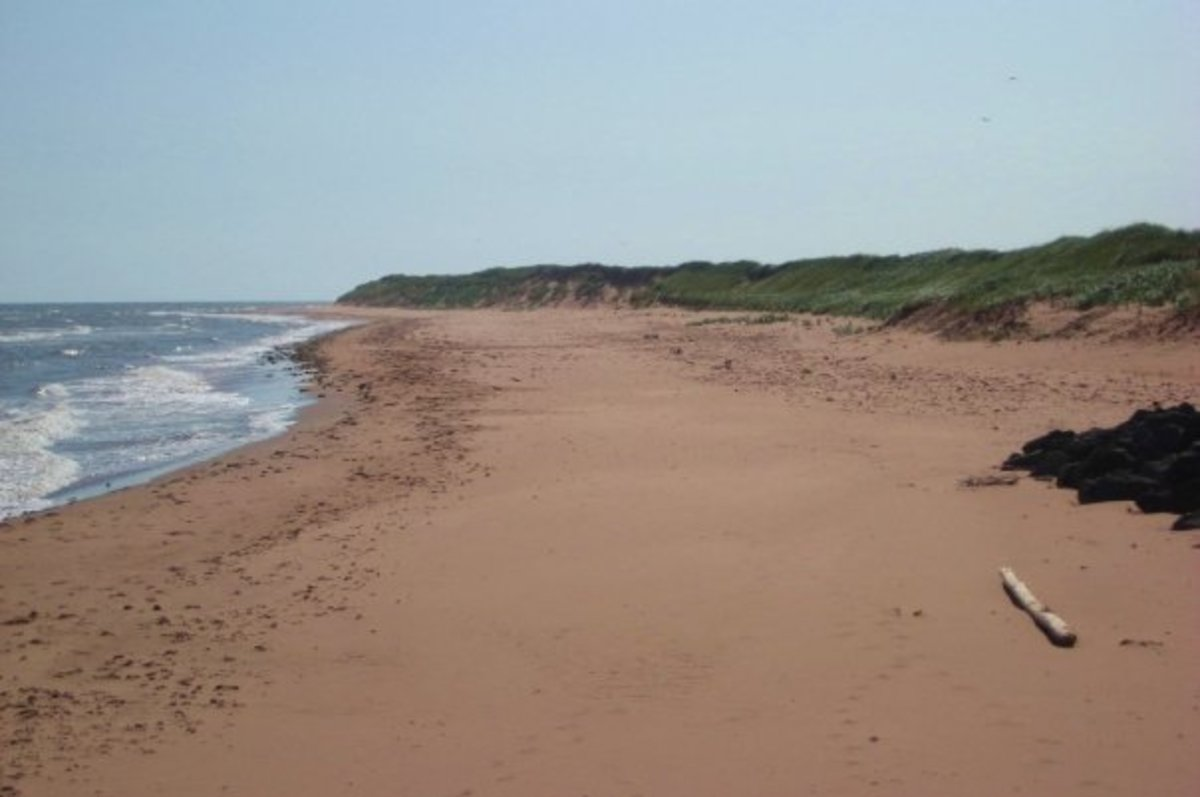 Red sand beach on Prince Edward Island