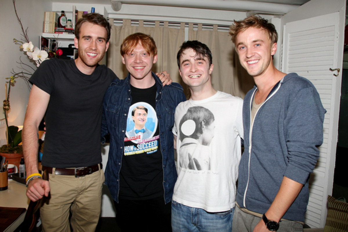 "Matthew Lewis, Rupert Grint and Tom Felton visited Daniel backstage at "" How To Succeed in Business Without Really Trying"" in 2012."