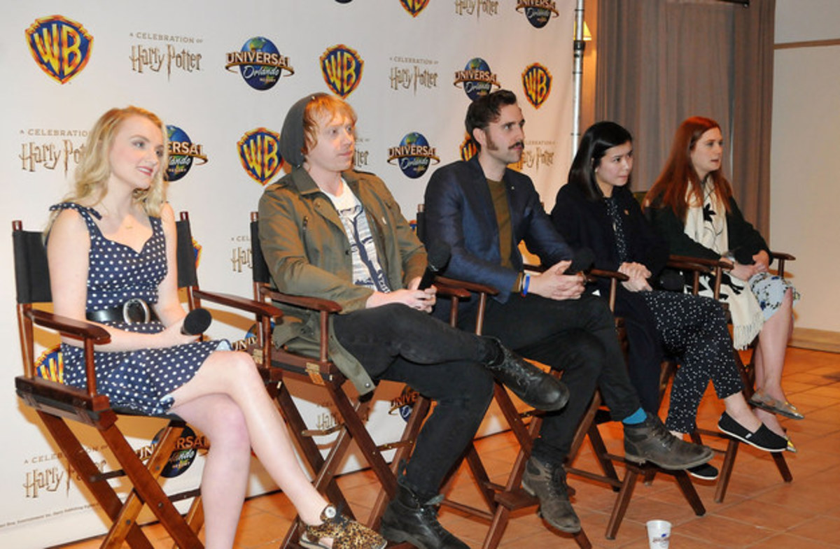 Evanna Lynch, Rupert Grint, Matthew Lewis, Katie Leung, and Bonnie Wright got together at the Wizarding World of Harry Potter theme park in Orlando for a fan convention in 2016.