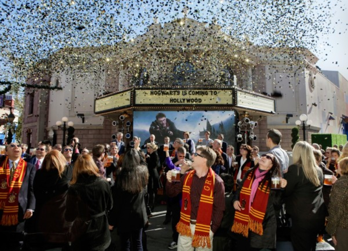 Fans celebrate the announcement of the WWoHP expansion in LA.