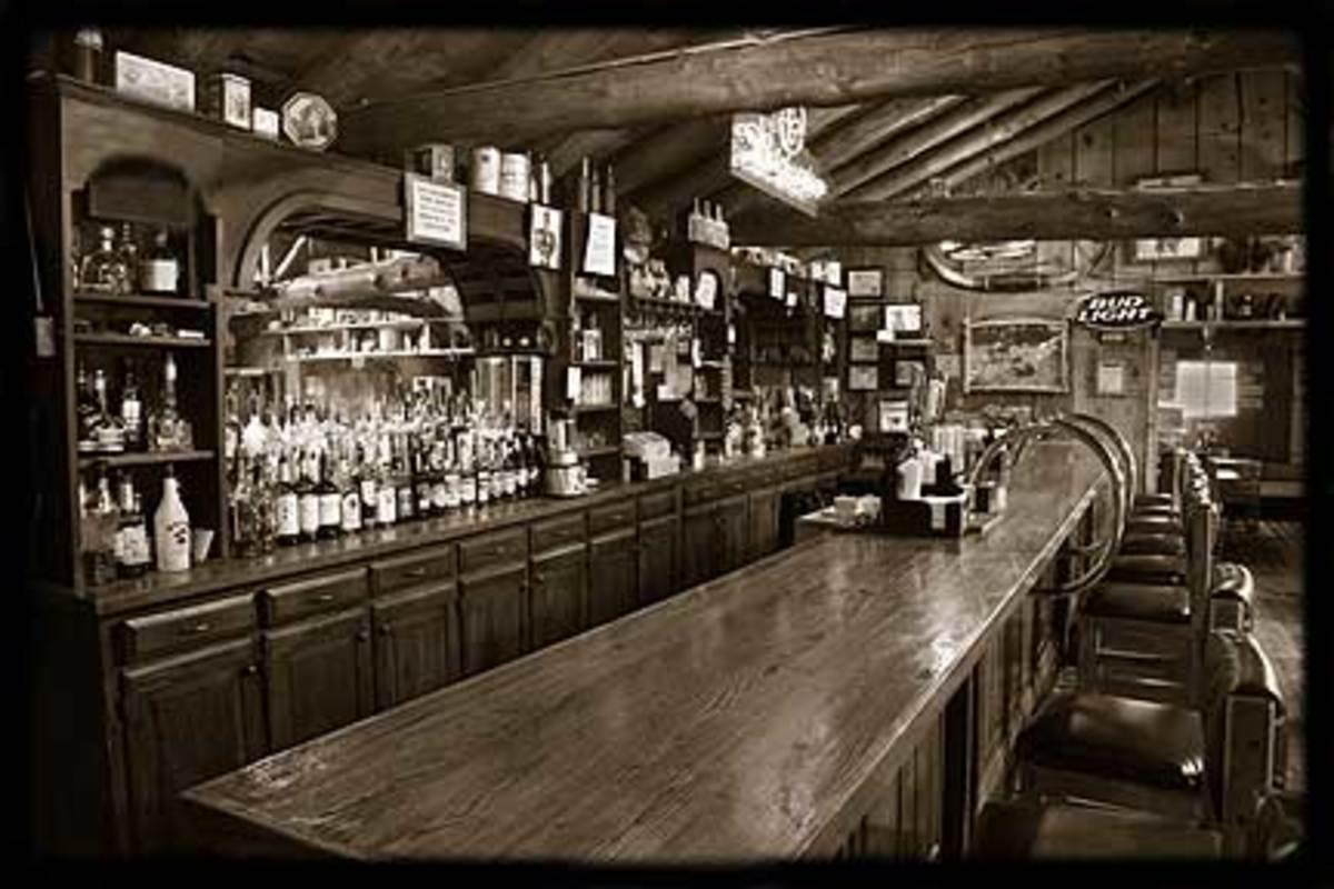 The bartop where Walter White sat watching TV.