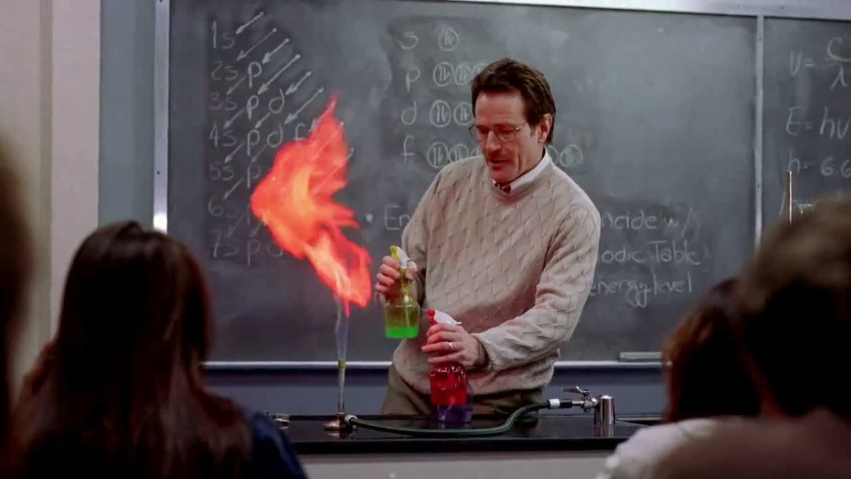 Walter White (portrayed by Bryan Cranston) teaching high school chemistry.