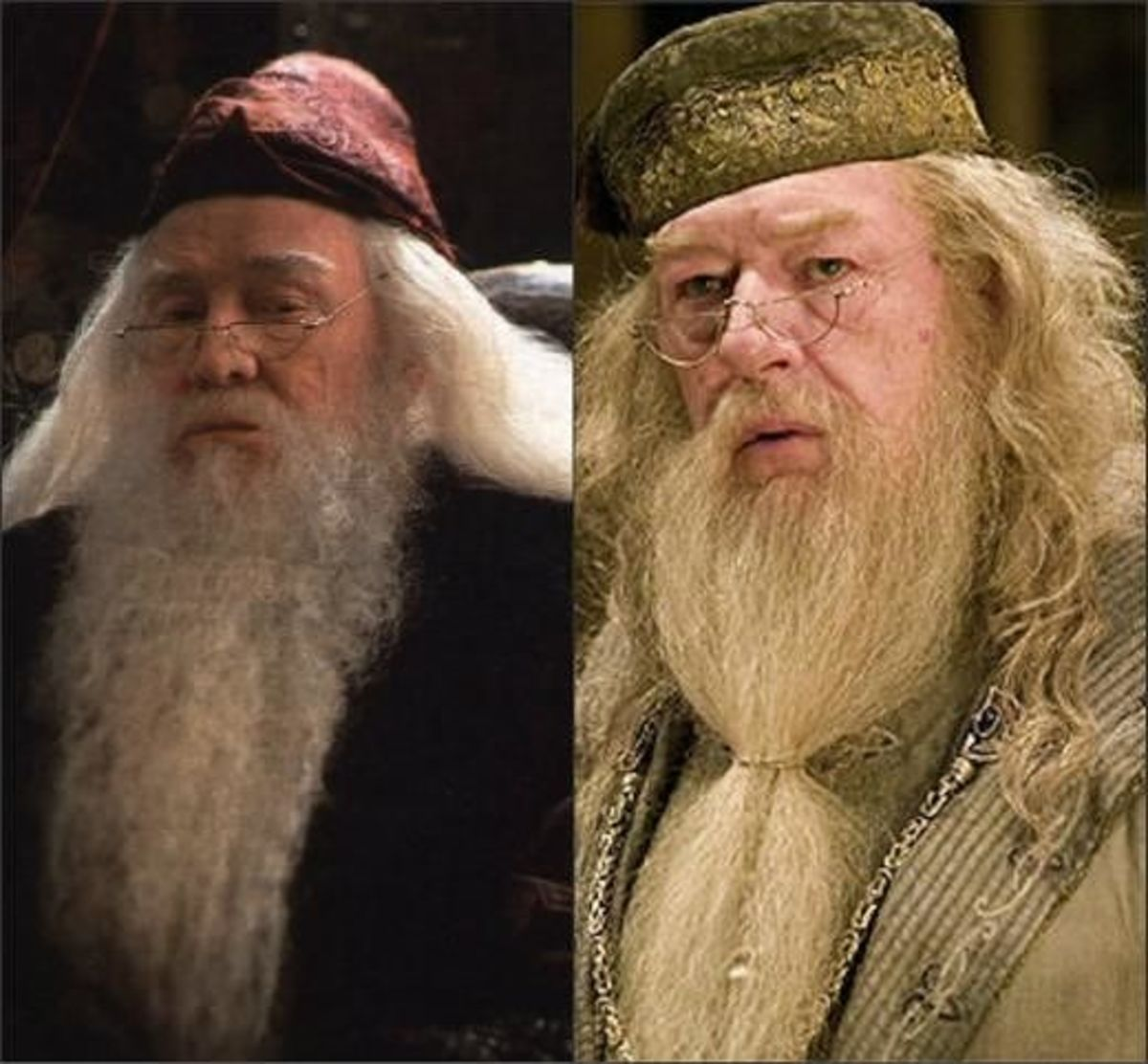 Albus Dumbledore, played by Richard Harris (left) and Michael Gambon (right)