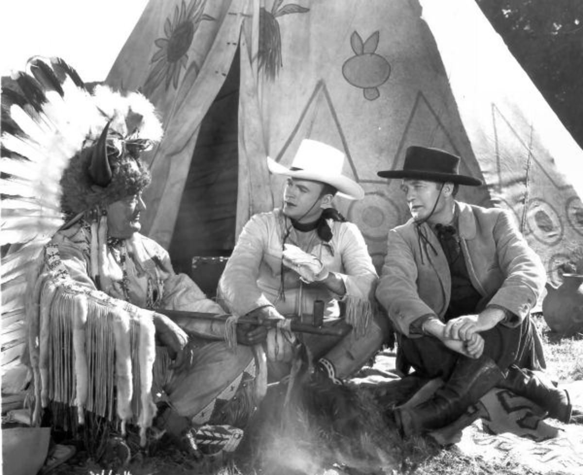 "Chief Many Treaties (left) in ""Outlaw Express"""