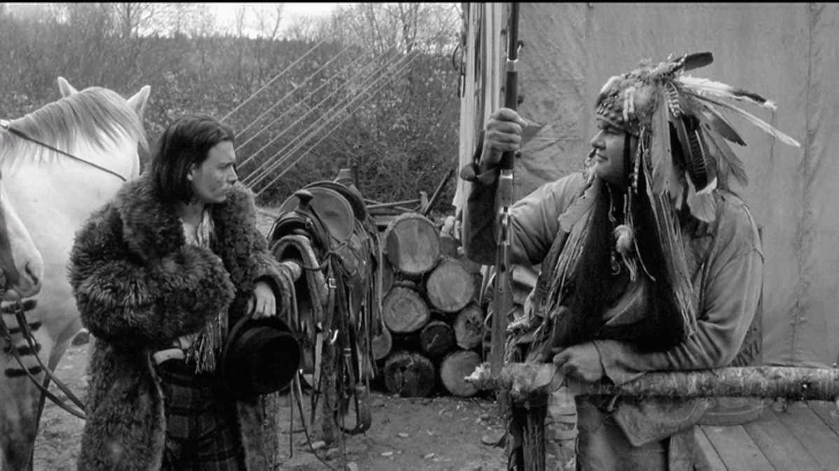 "Gary Farmer (right) with Johnny Depp in ""Dead Man."""