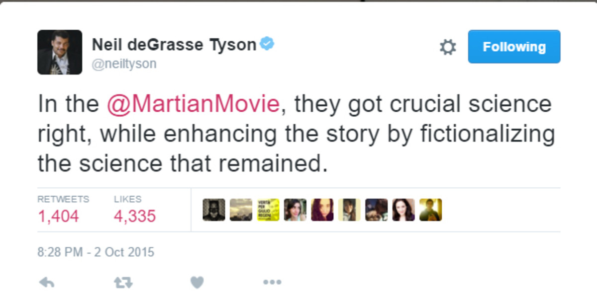 Neil deGrasse Tyson tweets his thoughts on The Martian