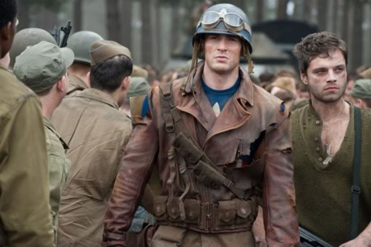 Chris Evans as Steve Rogers and Sebastian Stan as Bucky Barnes in a promotional still from Captain America: The First Avenger