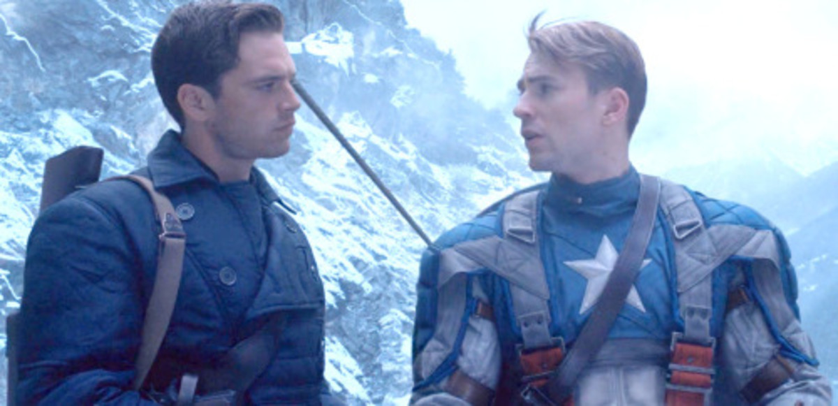 Sebastian Stan as Bucky Barnes and Chris Evans as Steve Rogers (Screencap from Captain America: The First Avenger)
