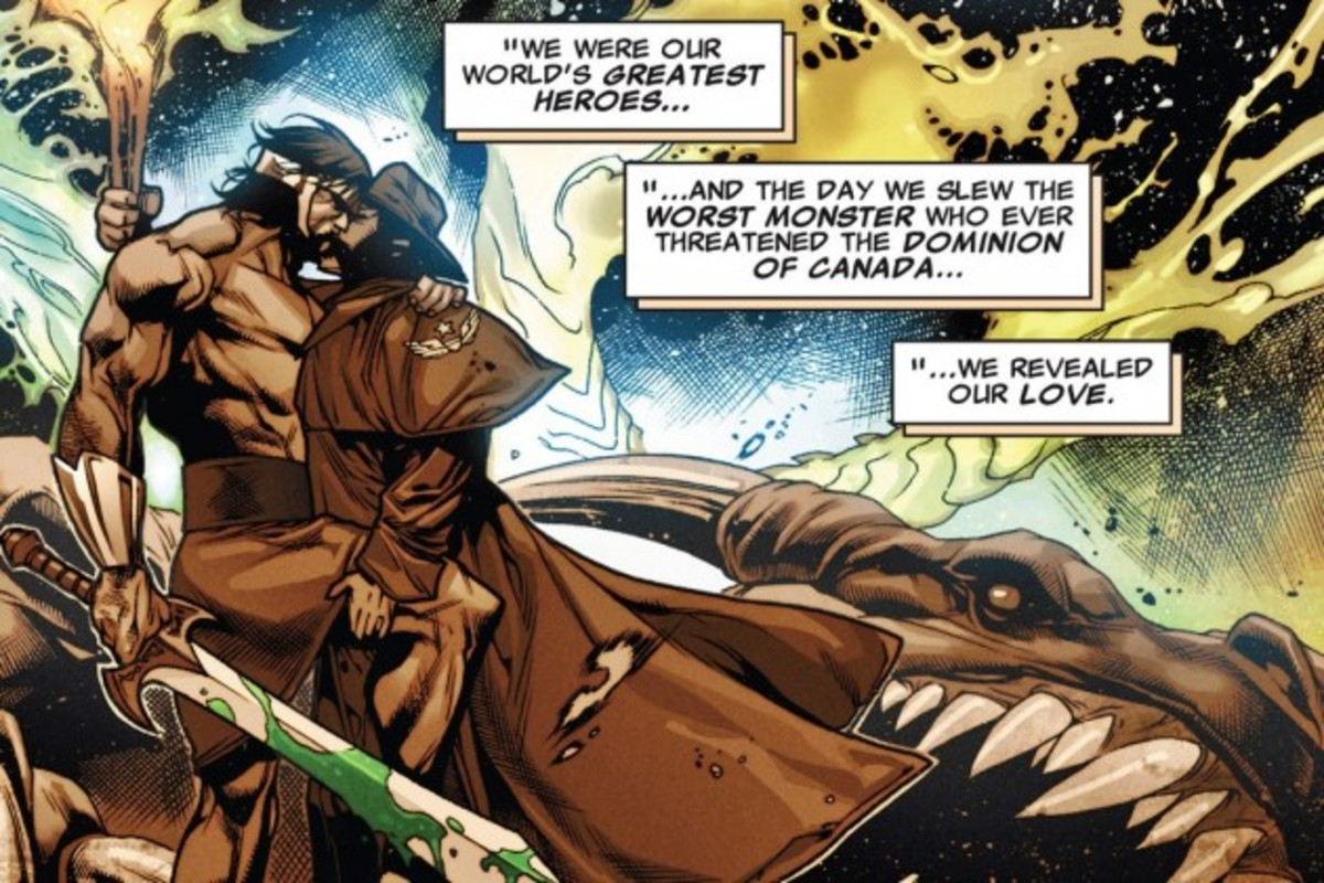 Hercules and Wolverine kiss in an alternate universe (Panel from X-Treme X-Men #10)