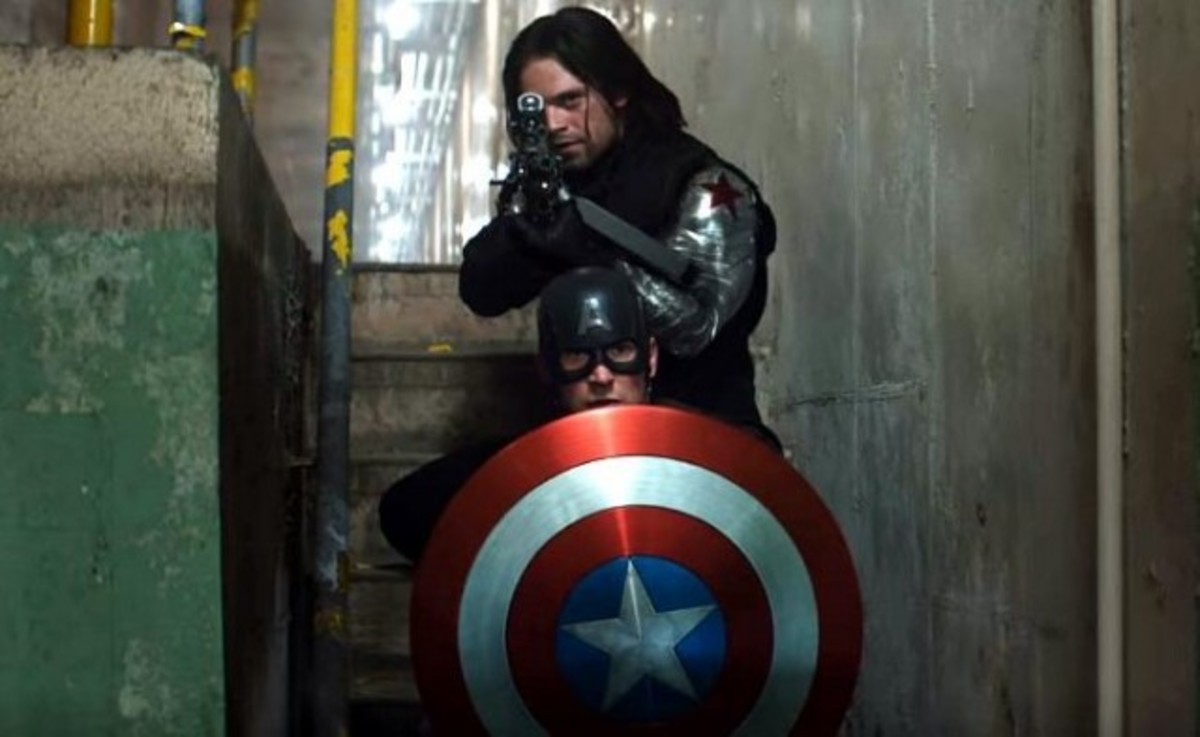 Chris Evans as Steve Rogers and Sebastian Stan as Bucky Barnes in a promotional still from Captain America: Civil War