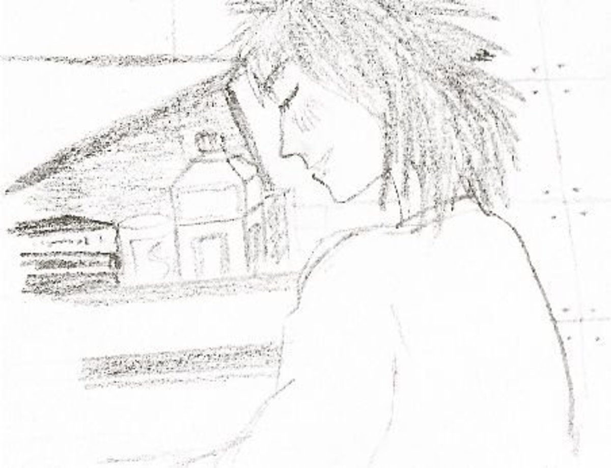 Nodame, practicing in her messy home.            Sketched by Kymberly.