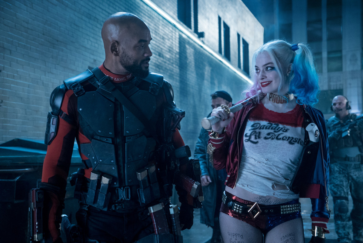 Will Smith as Deadshot and Margot Robbie as tacky Harley Quinn