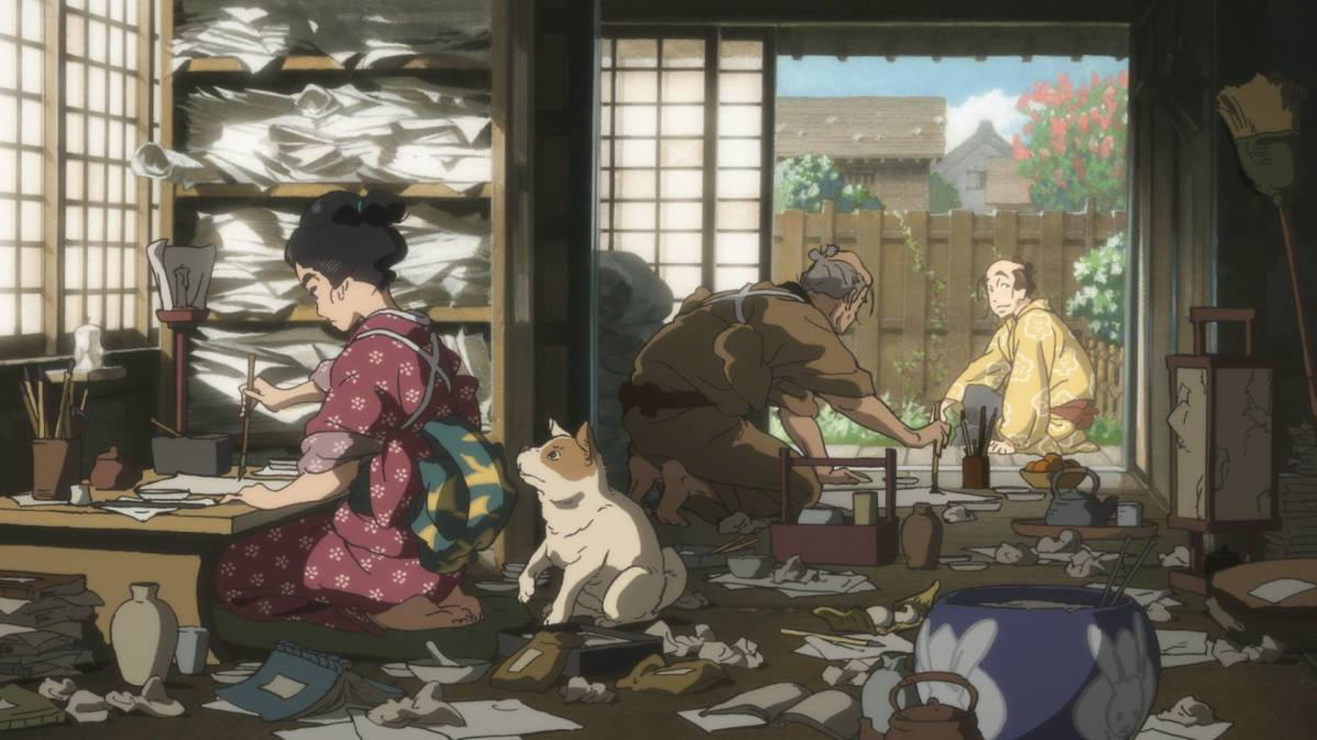 "A look at the workspace of O-Ei and Tetsuzo in ""Miss Hokusai."""