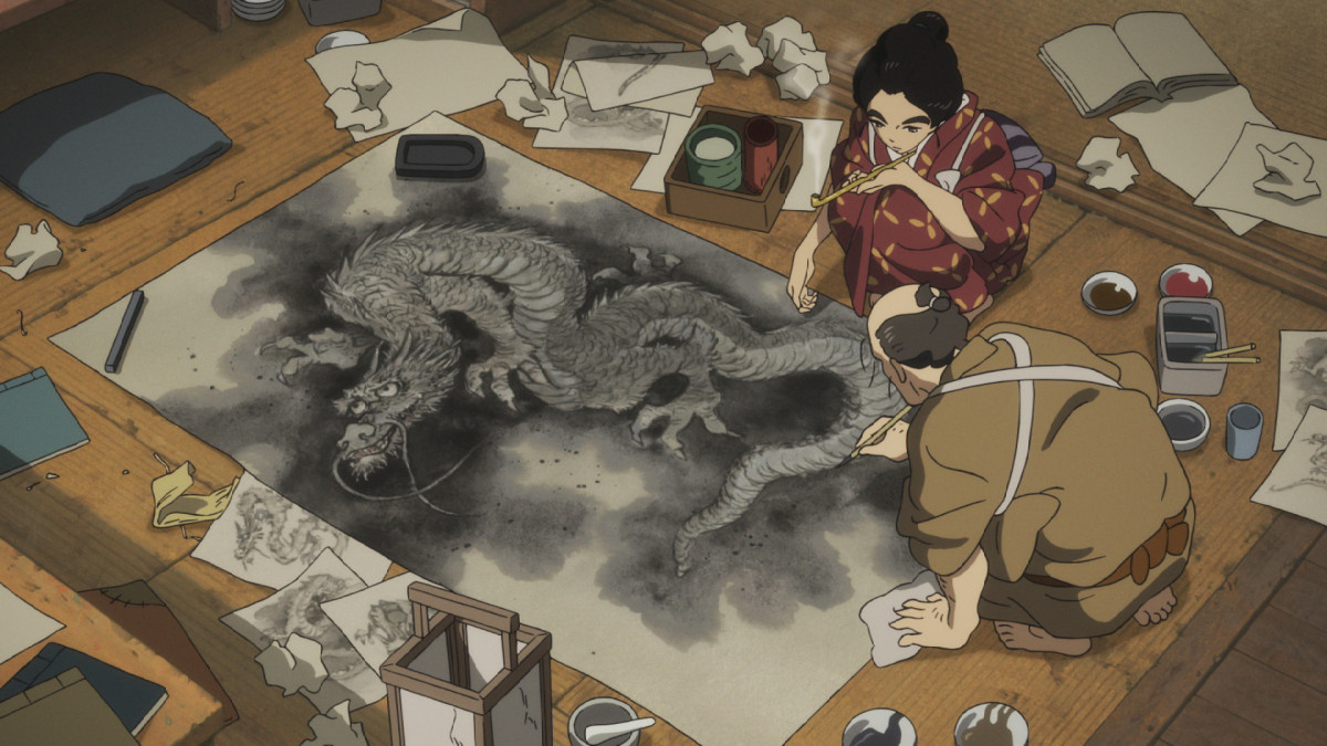 "Tetsuzo paints a dragon as O-Ei looks on in ""Miss Hokusai."""