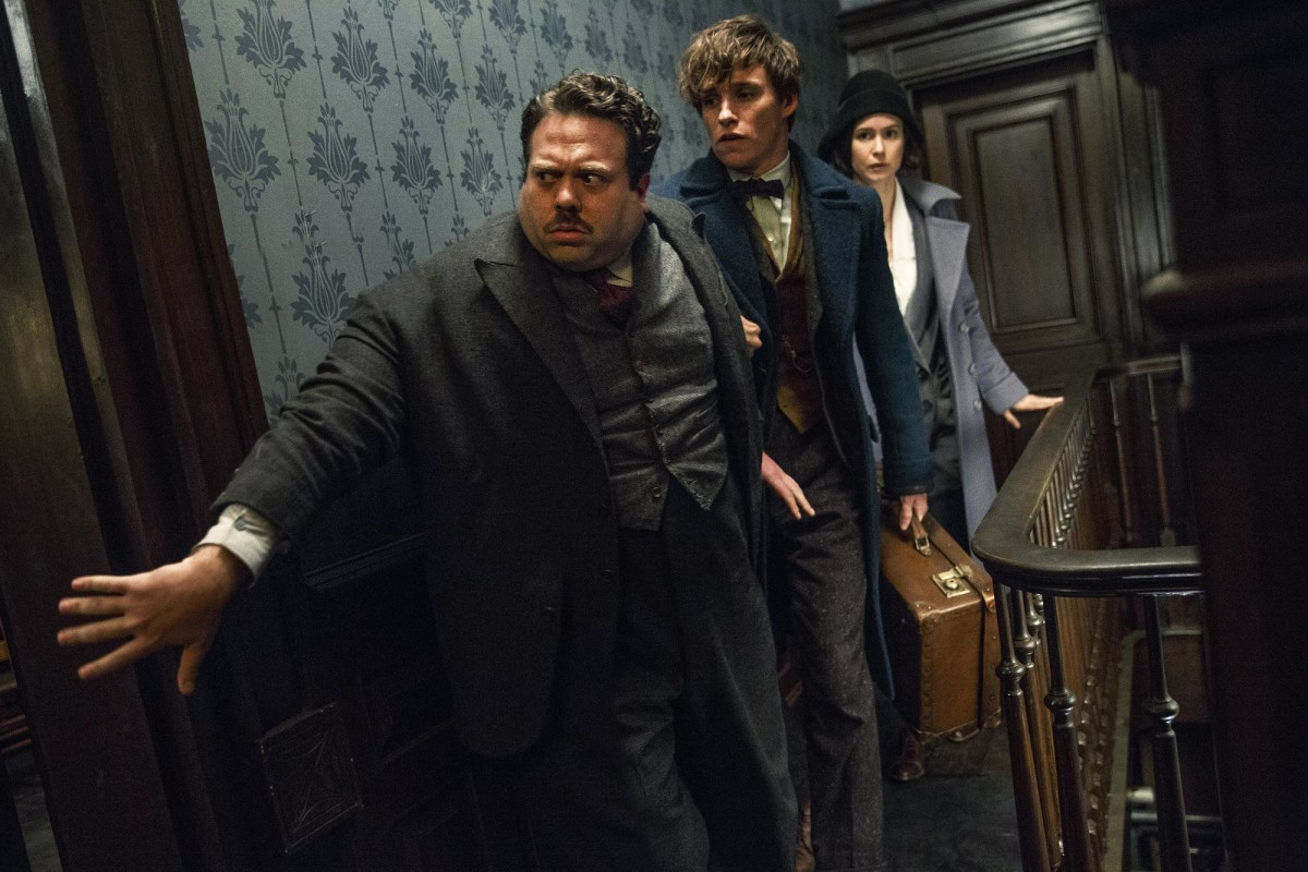 "Dan Fogler, Eddie Redmayne, and Katherine Waterston in ""Fantastic Beasts and Where to Find Them."""