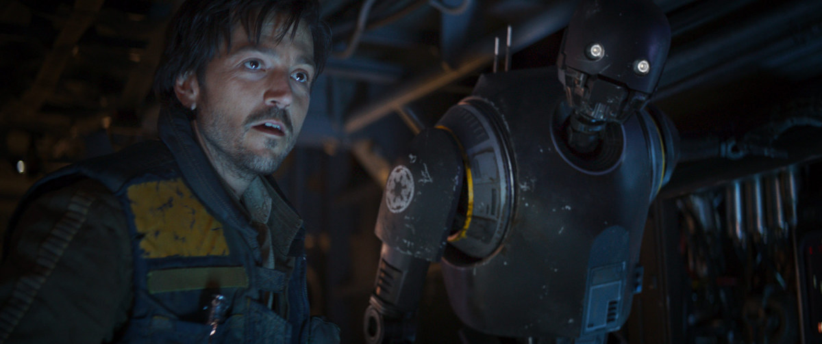 "Cassian Andor (Diego Luna) and K-2SO (Alan Tudyk) in ""Rogue One: A Star Wars Story."""