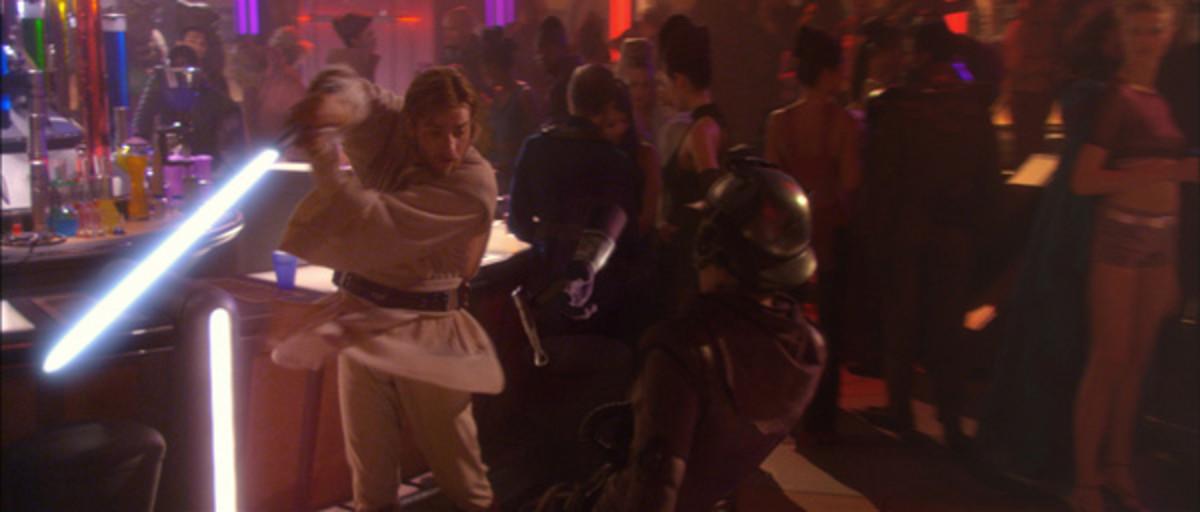 Obi-Wan disarms Zam in Episode 2