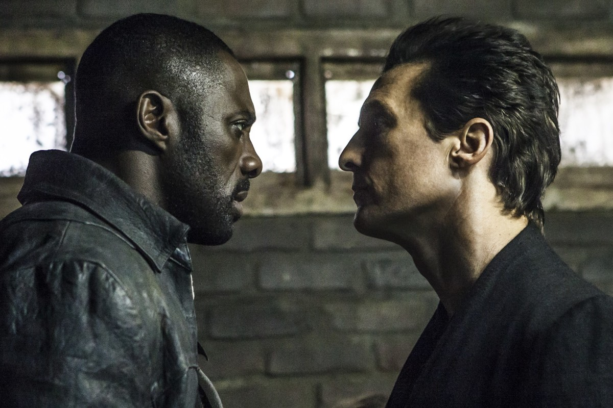 "Idris Elba and Matthew McConaughey as Roland Deschain/The Gunslinger and Walter O'Dim/The Man in Black in ""The Dark Tower."""