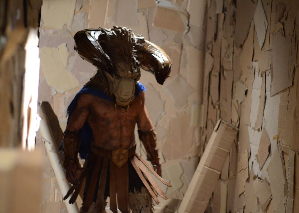 "John Hennigan as The Minotaur in ""Dave Made a Maze."""