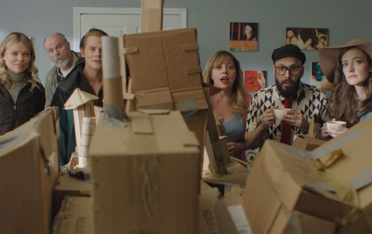 "From left to right: Kamilla Alnes, Rick Overton, Drew Knigga, Kirsten Vangsness, Timothy Nordwind, and Stephanie Allynne in ""Dave Made a Maze."""