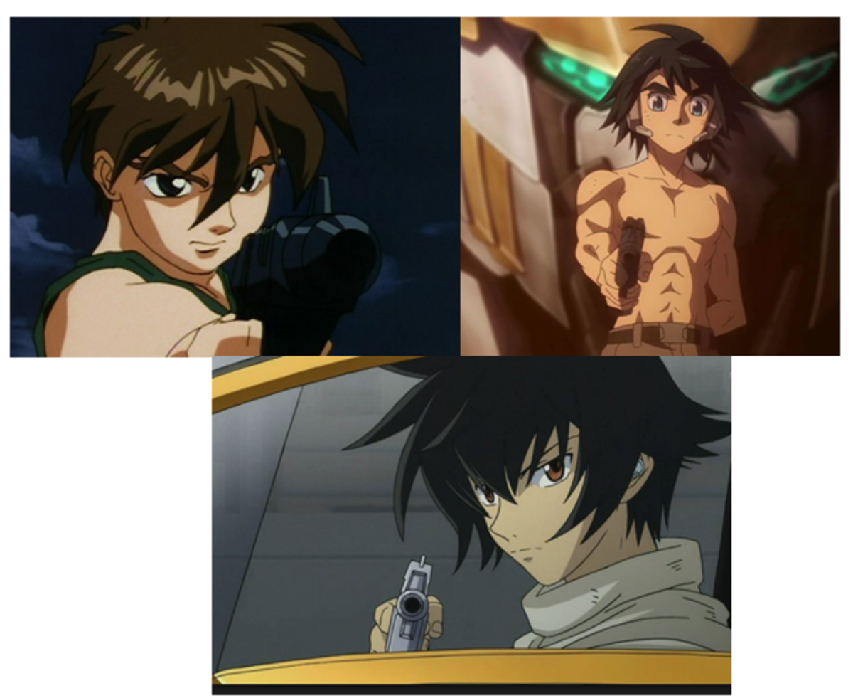 Counter-clockwise; Heero Yuy, Setsuna F. Seiei, and Mikazuki Augus.
