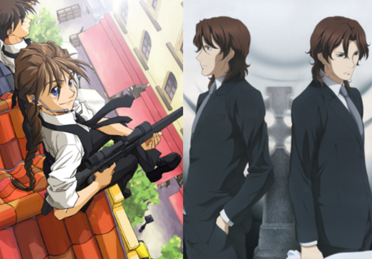 Duo Maxwell (left) and the Lockon Stratos twins (right)
