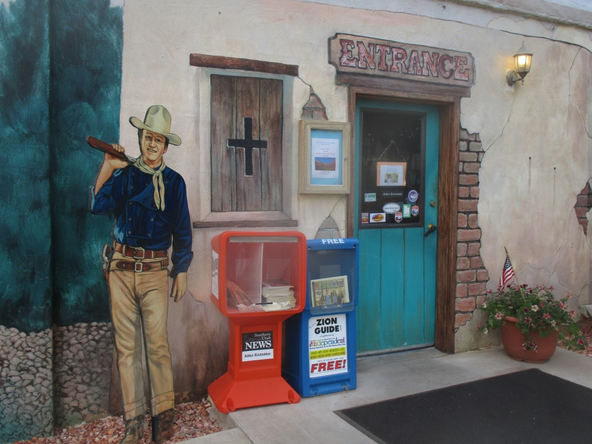 John Wayne is immortalized on the exterior of the Kane County Visitors Center
