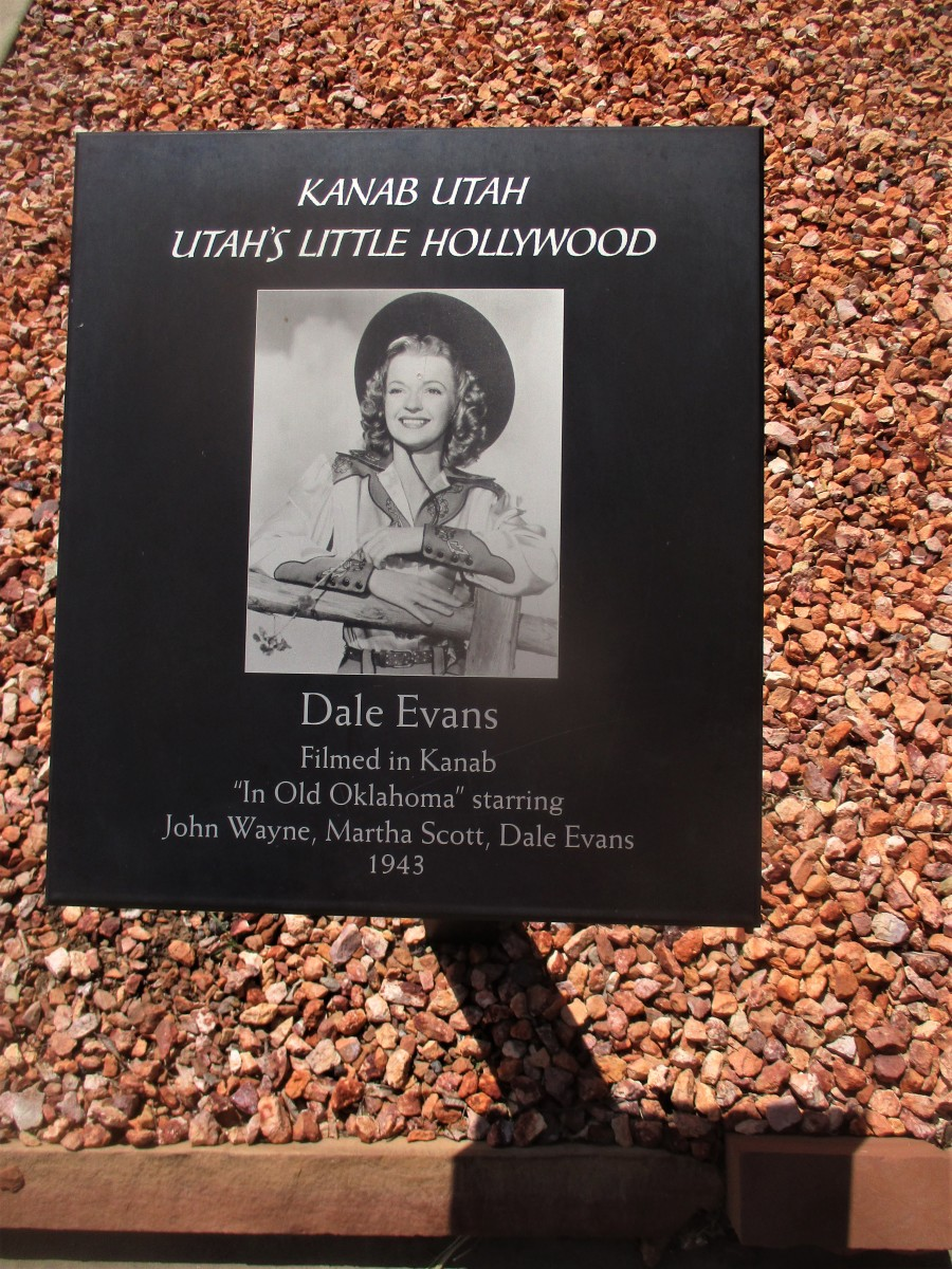 The town of Kanab is filled with memorable plaques like this one about Dale Evans