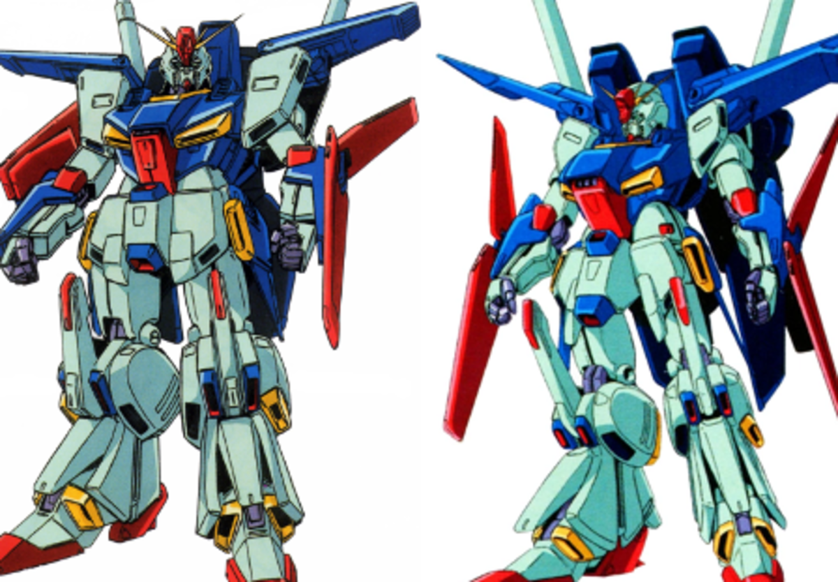 MSZ-010 ZZ– Gundam (left) and MSZ-010S Enhanced ZZ Gundam (right).