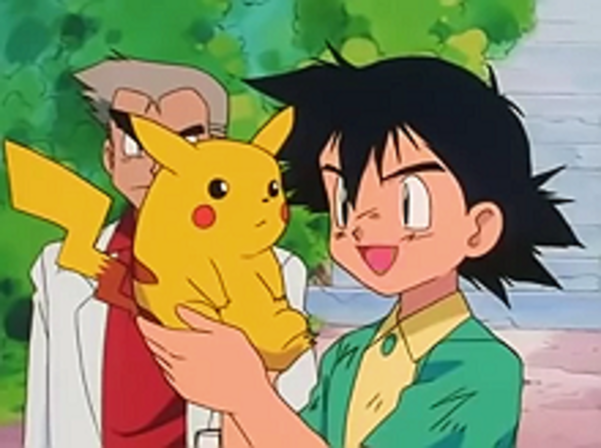 A Screenshot of the very first episode in which Ash recieves his first Pokémon, Pikachu.