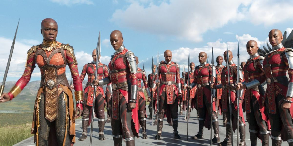 Okoye (left) and her Dora Milaje the all women's Royal Guard for King T'Challa