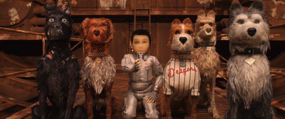 "Chief, King, Atari, Boss, Rex, and Duke in, ""Isle of Dogs."""