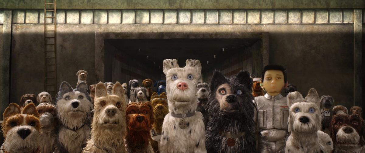 From left to right: Bill Murray as Boss, Jeff Goldblum as Duke, Edward Norton as Rex, Bob Balaban as King, Liev Schreiber as Spots, Harvey Keitel as Gondo, Koyu Rankin as Atari Kobayashi, and Bryan Cranston as Chief.