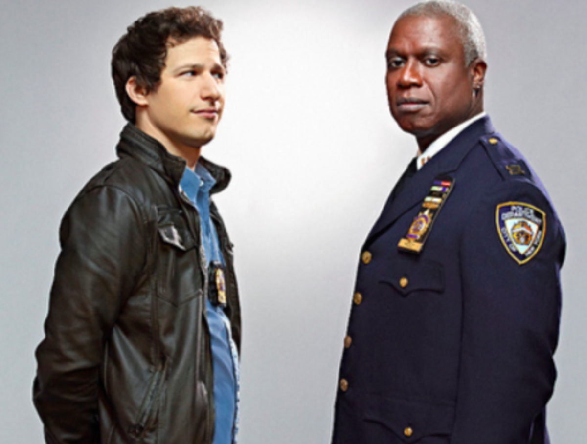 Brooklyn Nine-Nine also features Detective Jake Peralta (Andy Samberg) and Captain Raymond Holt (Andre Braugher).