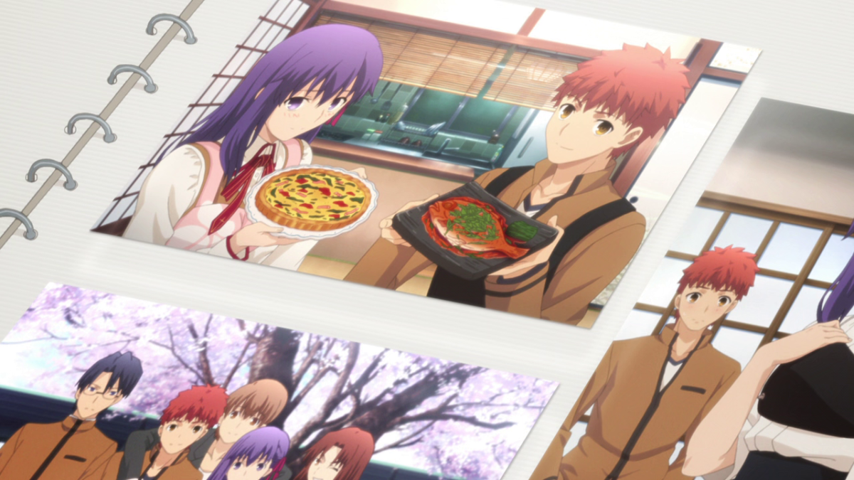 Taiga Fujimura, Shirou's guardian and teacher, waxes nostalgic while looking through Shirou and Sakura's scrapbook of their happy memories together.