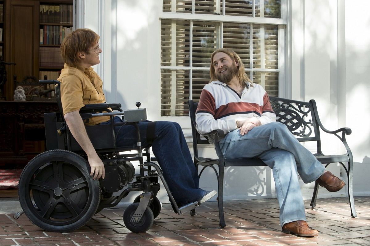 "Joaquin Phoenix and Jonah Hill as John Callahan and Donnie in, ""Don't Worry, He Won't Get Far on Foot."""