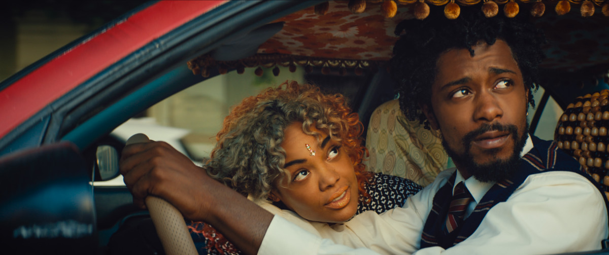 "Tessa Thompson and Lakeith Stanfield as Detroit and Cassius Green in, ""Sorry to Bother You."""